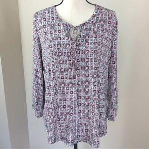 Liz Claiborne Red And Black 3/4 Sleeve Blouse XL